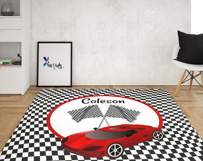 Personalized Race Car Rug Throw Rug, Area Rug, Checkered Flag Rugs in 4 Sizes