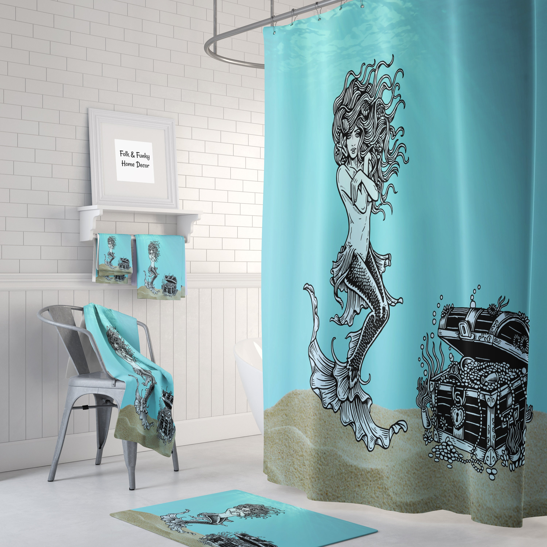 Mermaid Shower Curtain Optional Bath Mat Bathroom
