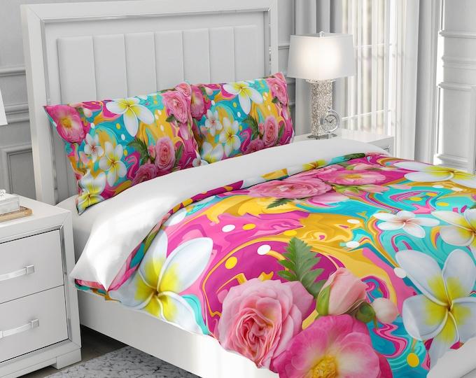 Tropical Hippie Floral Bedding Set