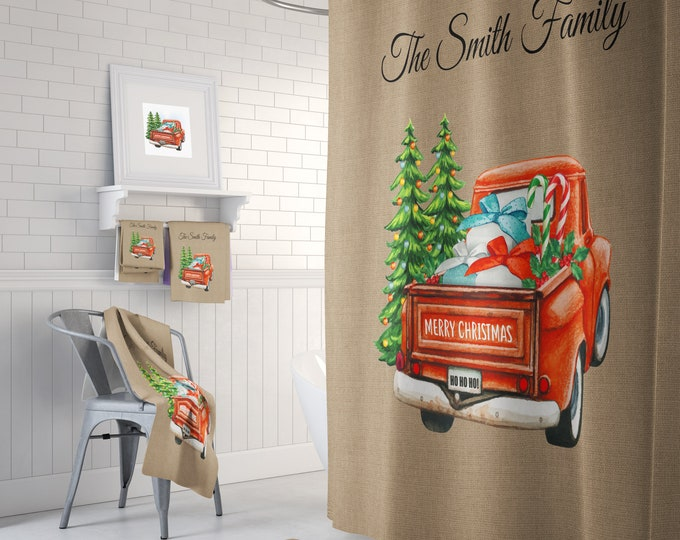 Personalized Red Truck Christmas Shower Curtain Optional Bath Decor