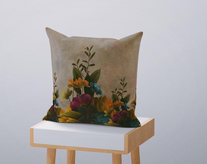 Vintage Garden Floral Throw Pillow