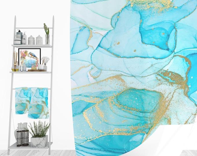 Turquoise Mist Shower Curtain,Bath Mat, Towel Options