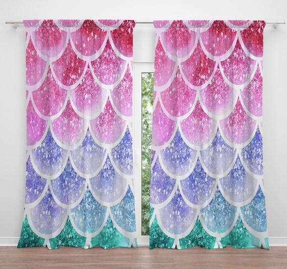 Pastel Mermaid Scales Window Curtains Long Short