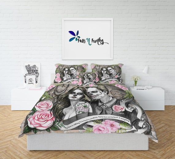 Handmade Sugar Skull Bedding Love Duvet Set by FolkandFunky
