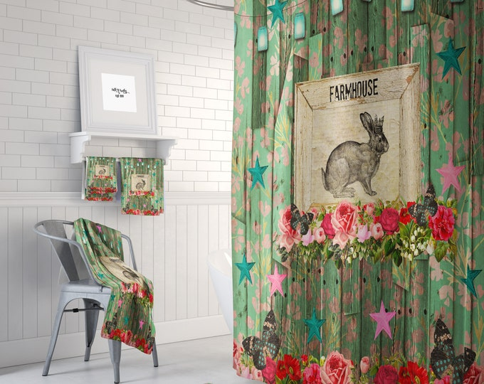 Shabby Farmhouse Shower Curtain, Optional Bath Mat and Towels