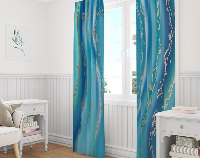 Aqua Agate Window Curtains