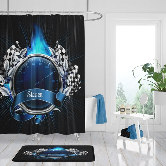 Shower Curtain Personalized Custom Race Car Theme Black And