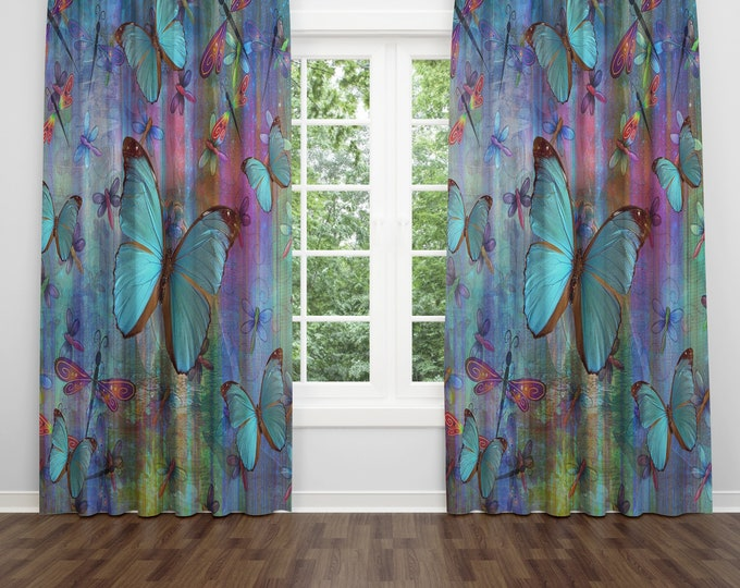 Blue Butterfly and Dragonfly Window Curtains, Boho Drapes