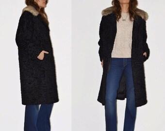 1960s Black Fur Coat // Persian Lamb Grey Fox // Size M // Knee length 60s vintage // Genuine Fur