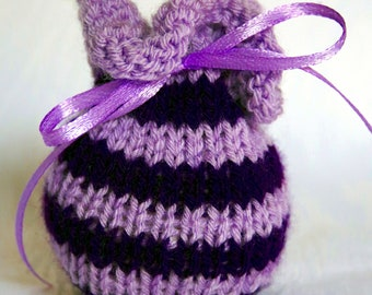 Scented sachet bag knitted purple striped