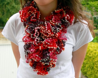 Frilly scarf delicately caressing like as a feather crocheted Blue Red, Colorful, Beige Grey Black