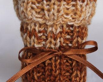 Chair socks Brown Beige Set of 4 knitted