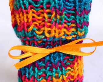 Chair socks blue-multicolored set of 4 knitted
