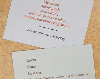 Postcards with Friedrich Nietzsche quotes – letterpress, lead-type on grey cardboard