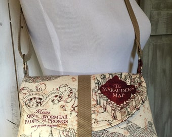 Harry Potter Marauder's Map, Crossbody Bag with an Adjustable Strap