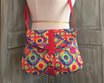 Rainbow of Colorful Circles, Crossbody Bag, with an Adjustable Strap