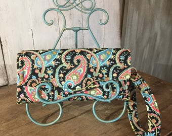 Necessary Clutch Wallet, Paisley, in Black, Teal and Blush