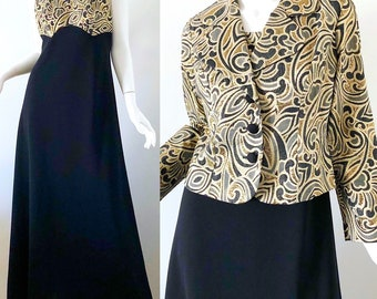 999a9cb8d448 1960s Gold Brocade Dress Metallic 60s Vintage Dress Bolero Jacket Gown Small