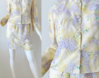 6c1aafa8c5c Vintage Thierry Mugler Skirt Suit Floral Silk 80s Party Jacket Skirt Set  Size 38