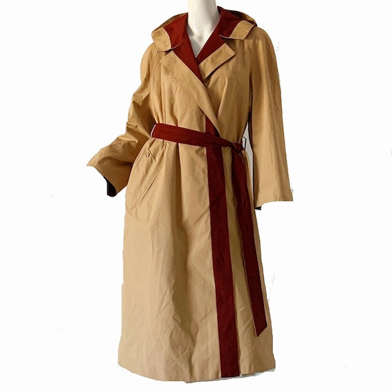 Vintage 70s Trench Raincoat Etienne Aigner Hooded… - image 5
