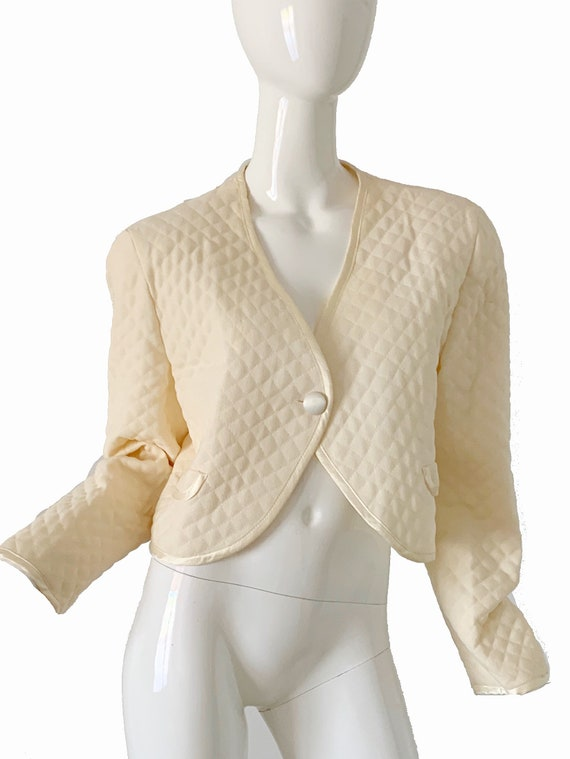 Vintage Geoffrey Beene Jacket / Quilted Ivory Tuxe