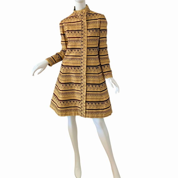 60s Ceil Chapman Dress Medium, Vintage Gold Broca… - image 1