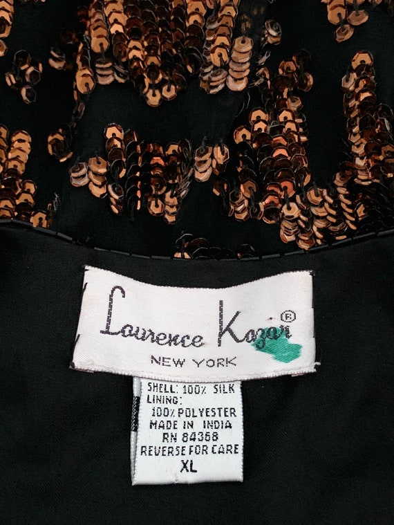 Vintage 80s Sequin Tiger Blouse Beaded Silk Tunic… - image 4