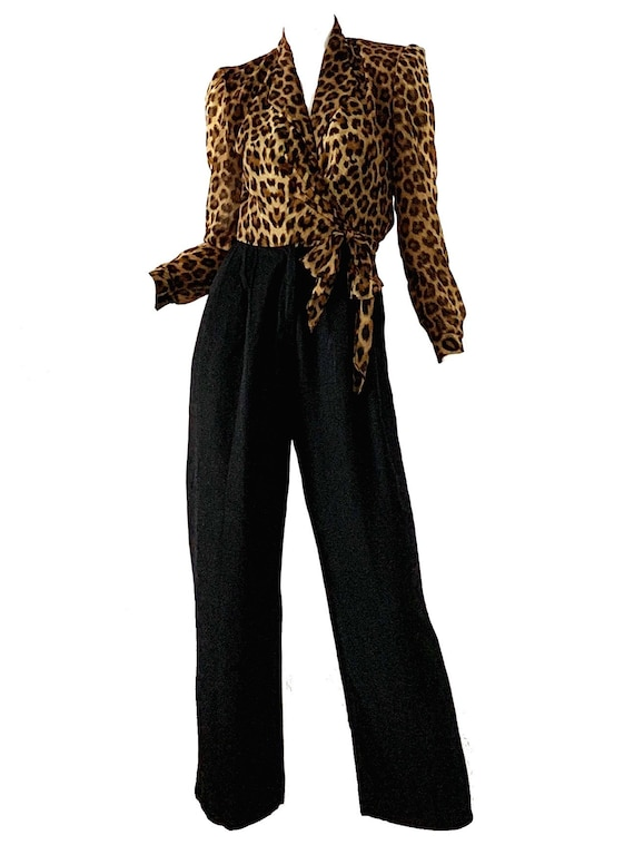 Vintage 80s Leopard Jumpsuit / Disco Party Cocktai