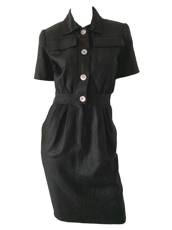 80s Vintage Carolyne Roehm Dress / Mod Black Linen
