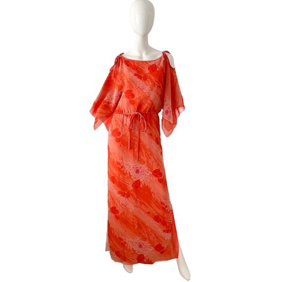 70s William Travilla Silk Kimono Dress Medium, Vi… - image 1