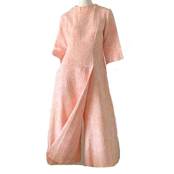 Vintage 60s Mod Jumpsuit Brocade Pink Palazzo Dre… - image 3