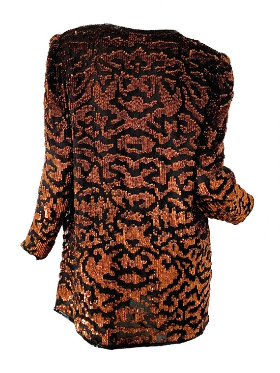 Vintage 80s Sequin Tiger Blouse Beaded Silk Tunic… - image 3