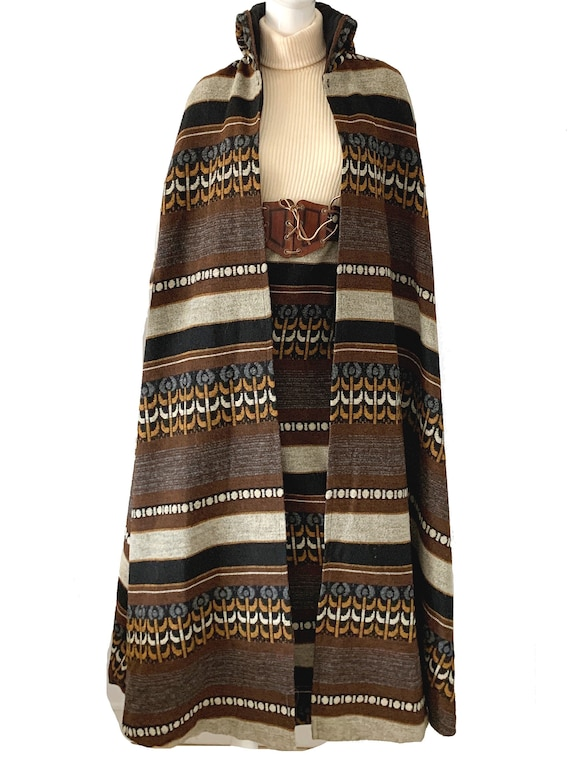 Vintage 70s Tapestry Dress Cape / S Howard Hirsch
