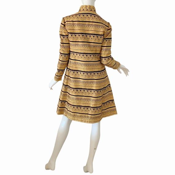 60s Ceil Chapman Dress Medium, Vintage Gold Broca… - image 5