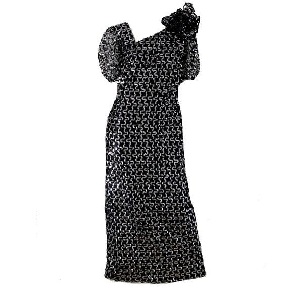 80s Vintage Sequin Party Dress / Disco Metallic Or