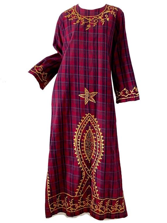 Vintage 70s India Dress / Boho Hippie Embroidered