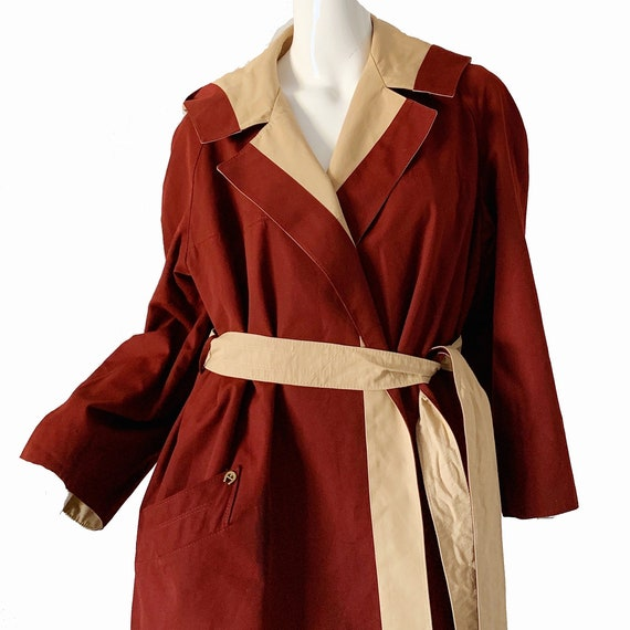 Vintage 70s Trench Raincoat Etienne Aigner Hooded… - image 3