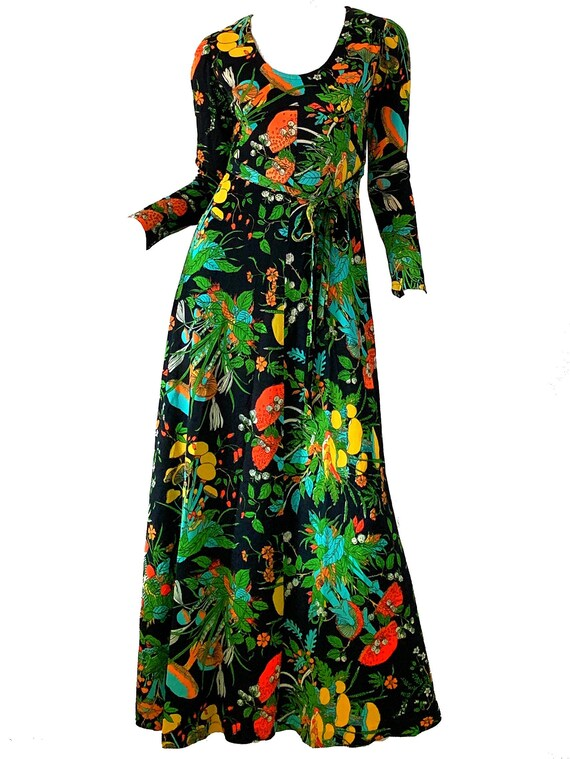 Vintage 70s Psychedelic Maxi Dress / Novelty Print