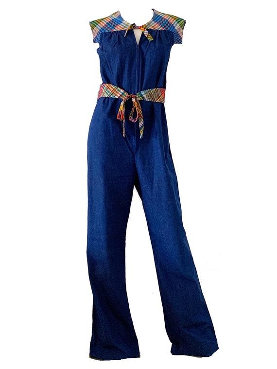 Vintage 70s Denim Jean Jumpsuit / Jones Bell Botto