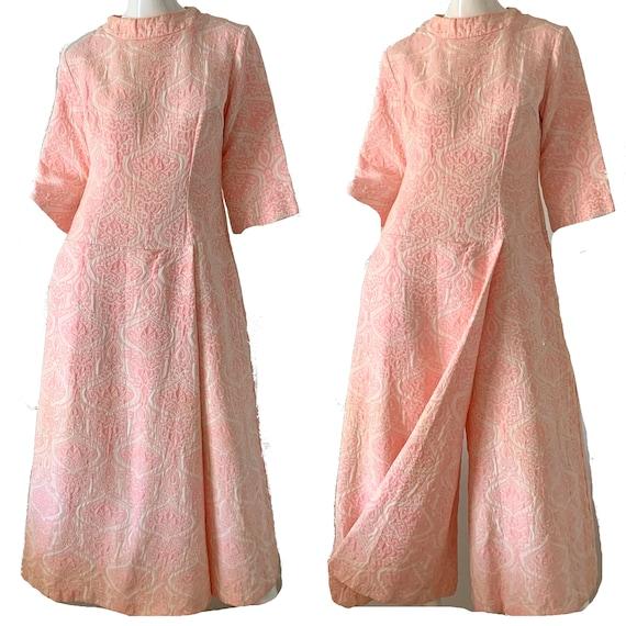 Vintage 60s Mod Jumpsuit Brocade Pink Palazzo Dre… - image 1