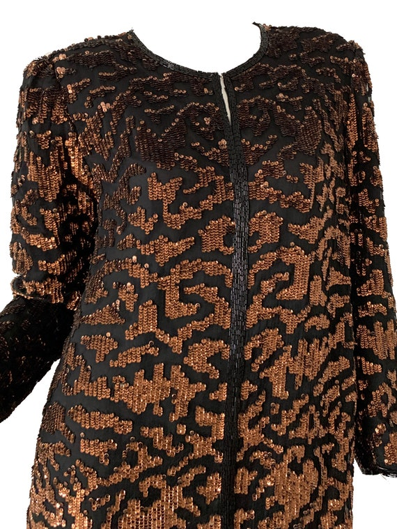 Vintage 80s Sequin Tiger Blouse Beaded Silk Tunic… - image 5