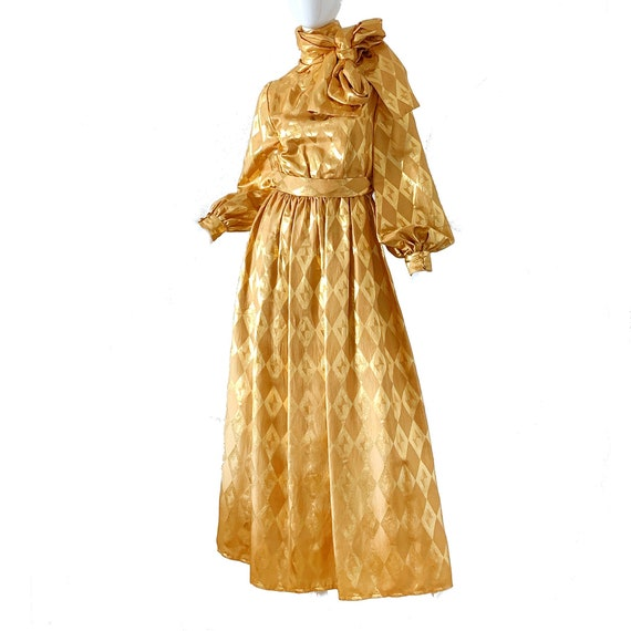 Vintage 70s Donald Brooks Dress Gold Lame Metallic