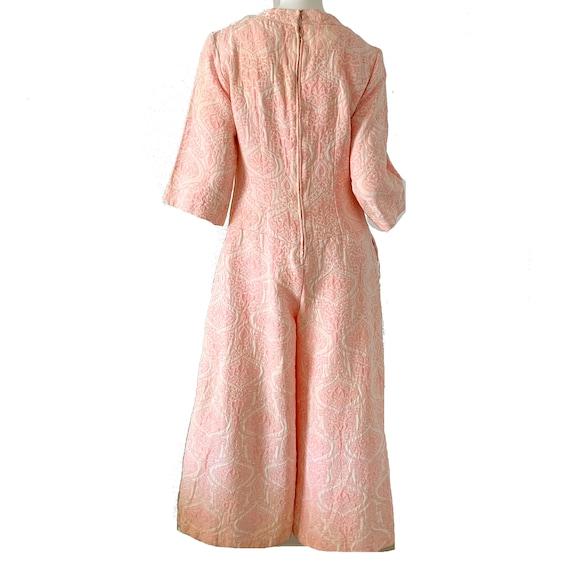 Vintage 60s Mod Jumpsuit Brocade Pink Palazzo Dre… - image 4