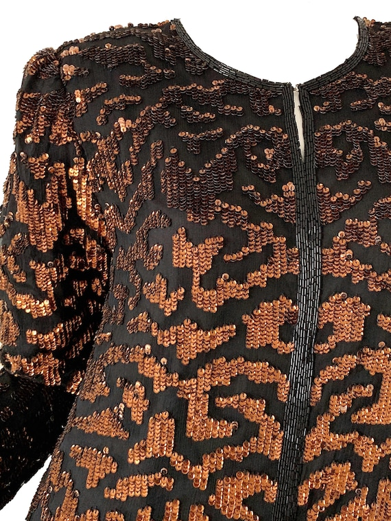 Vintage 80s Sequin Tiger Blouse Beaded Silk Tunic… - image 2