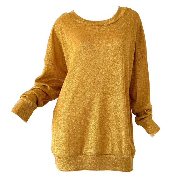 80s Gold Sweater / Metallic Knit Disco Party Holid