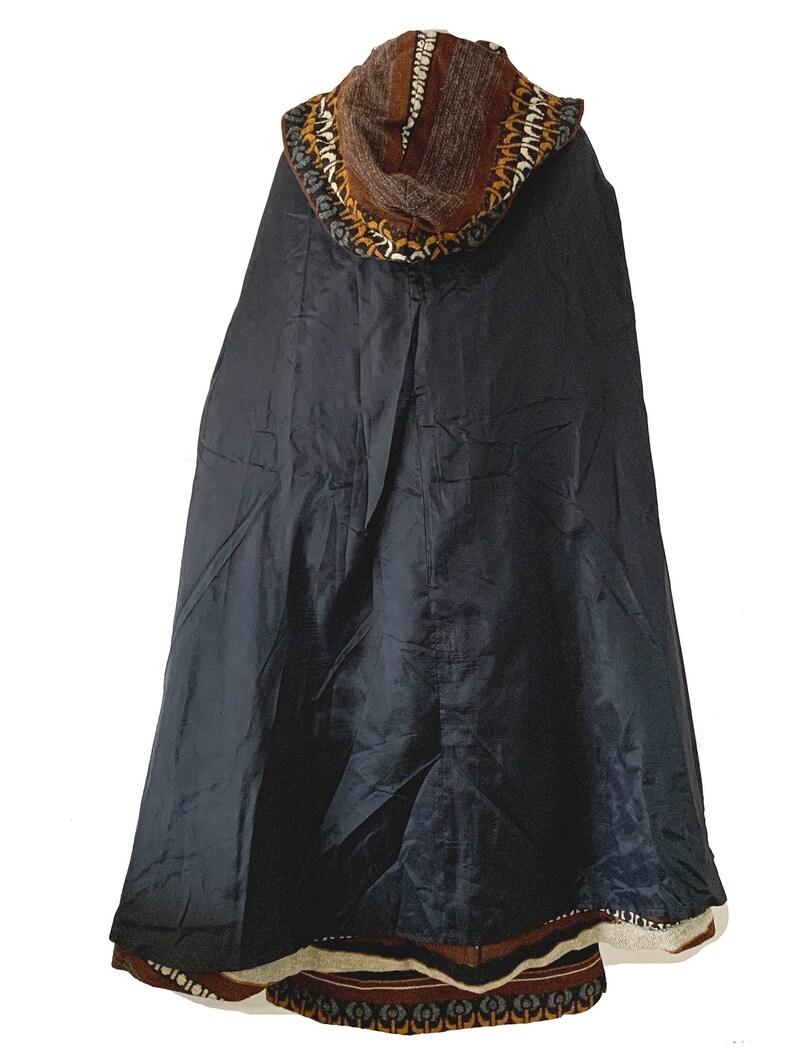 Vintage 1970s Tapestry Cottagecore Serape Dress Cape Set XS  S Howard Hirsch Designer Bohemian Boho Maxi Dress Set