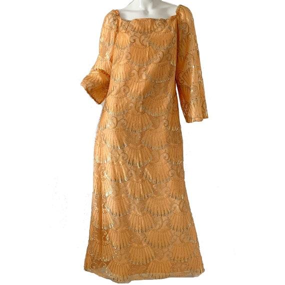 Vintage 60s Gold Lame Dress / Art Deco Metallic Pa