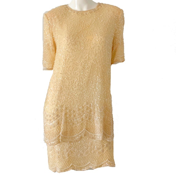 Vintage 80s Sequin Dress / White Beaded Disco Part