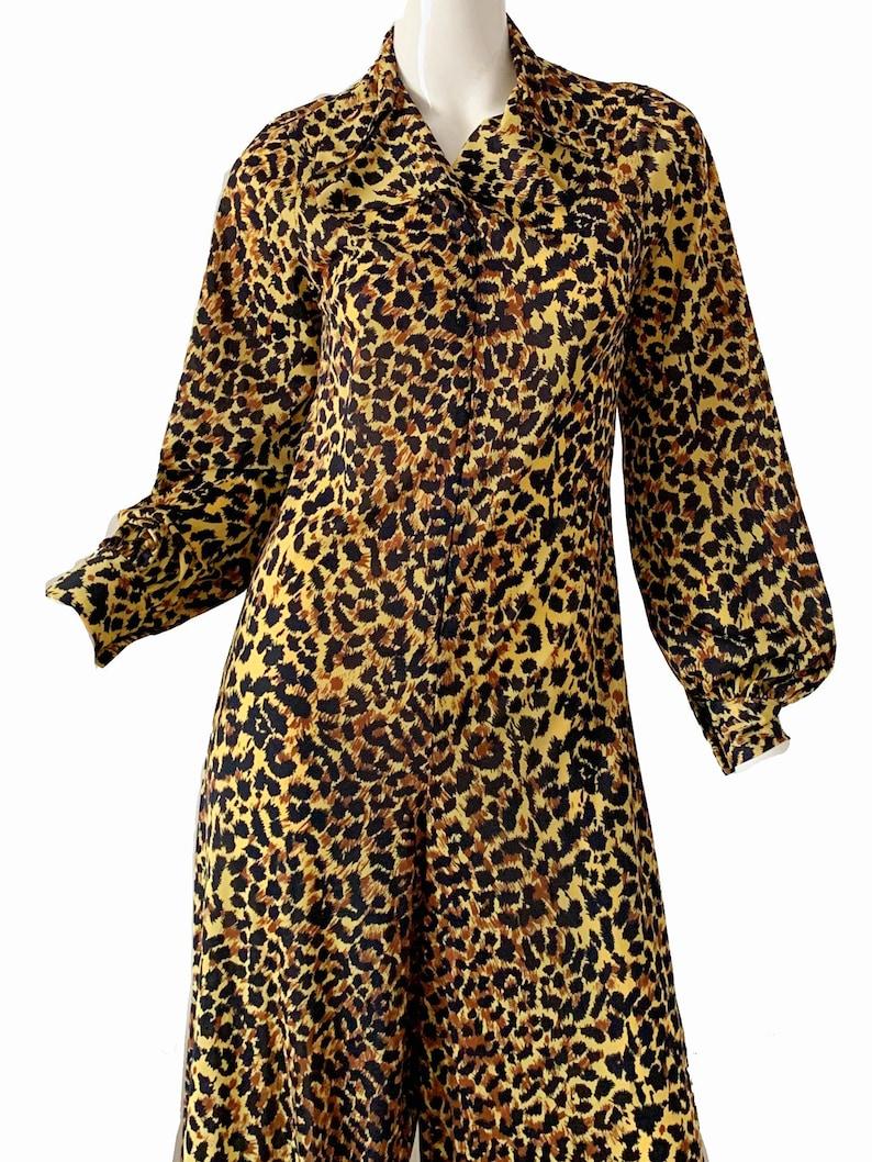 Vintage 70s Leopard Jumpsuit  Levoy Mod Disco Party Palazzo Jumpsuit Medium