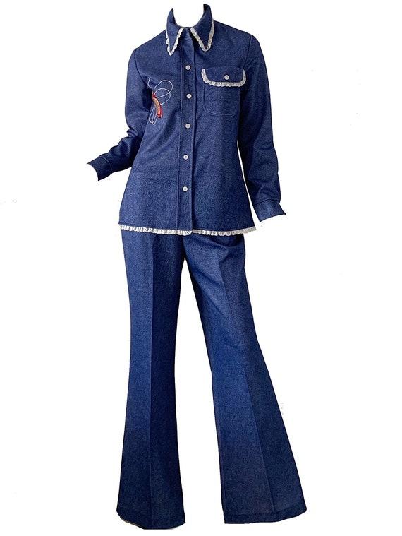 Vintage 70s Denim Blue Jean Bell Bottoms Pantsuit